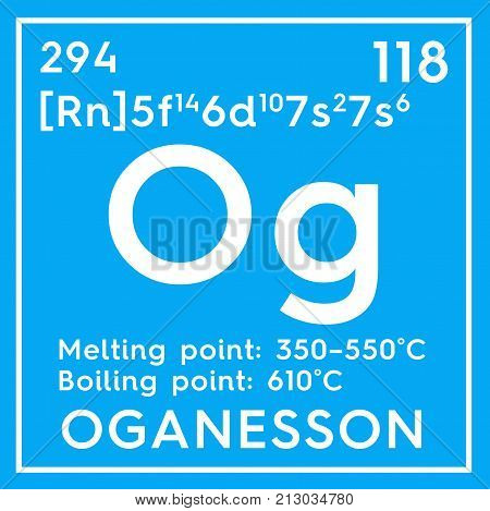 Oganesson. Noble Gases. Chemical Element Of Mendeleev's Periodic Table