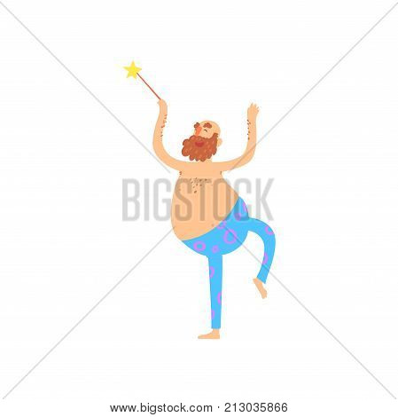 Freak fairy man character with a naked torso and a magic wand, freaky masquerade or carnival costume, cartoon vector Illustration on a white background