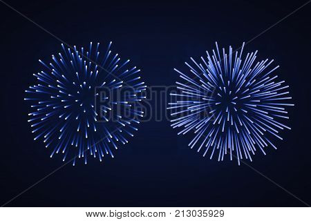 Beautiful Bright Fireworks Set Isolated On Black Background