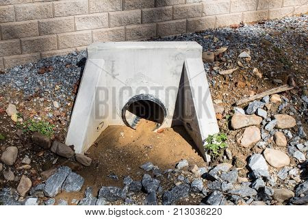 Newly Installed Drainage Pipe And Poured Concrete Form For Water, Horizontal Aspect
