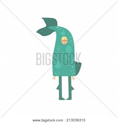 Freak man character in funny fish costume, freaky masquerade or carnival costume, creative party in crazy style cartoon vector Illustration on a white background