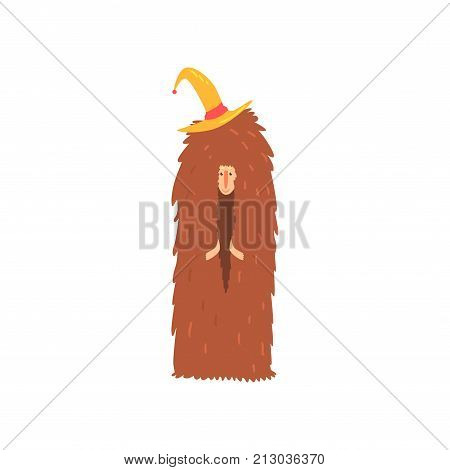 Freak man character in funny hairy brown costume and hat, freaky masquerade or carnival costume, creative party in crazy style cartoon vector Illustration on a white background