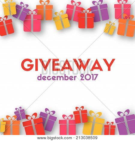 Giveaway banner. Vector template with gift boxes