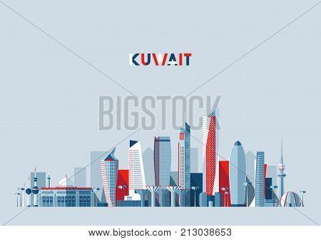 Kuwait city skyline, vector illustration, flat design