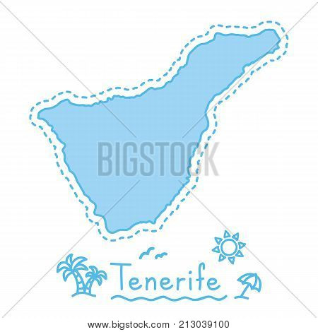 Tenerife island map isolated cartography concept canary islands vector
