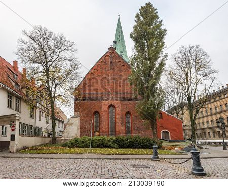 Saint Jacob Catholic church in old Riga city, Latvia The church is one of the famous architectonic buildingin historical center of Riga, it was included in the UNESCO World Heritage List
