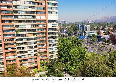 Balcony view to the neighborhood in Las Condes commune in Santiago Chile