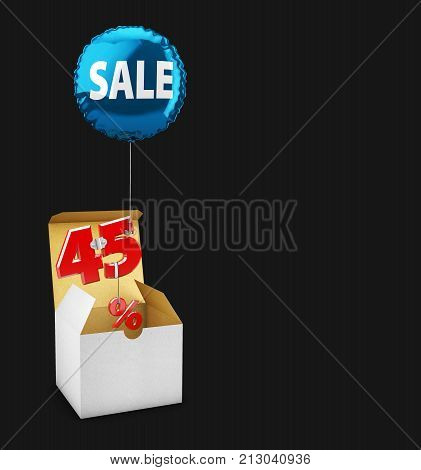 3D Illustration Of Open Box And Flying Balloon With Forty Five Percent Sign, Concept Of Sale For Sho