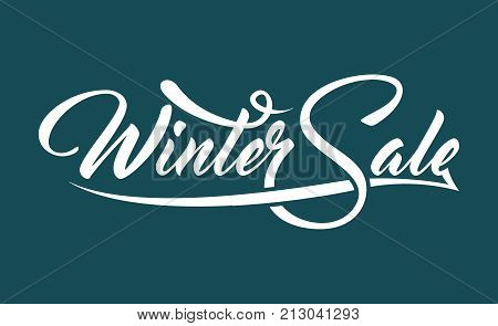 White caligraphic text Winter Sale on green background.