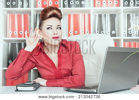 Business Woman With Big Ear Eavesdropping