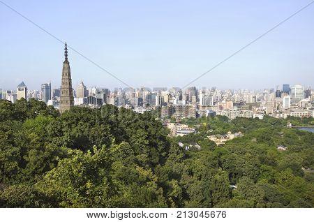 HANGZHOU, CHINA, -, JULY, 31, 2012, Baochu, Pagoda, Hangzhou, skyline, China
