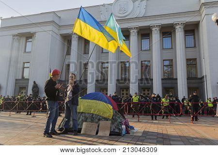 KIEV Ukraine-October 10 2017: Opponents of the acting President Petra Poroshenko and the cordon alone in front of the Verkhovna Rada building of Ukraine