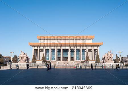 BEIJING, CHINA - DEC 26, 2013 - Mausoleum of Mao Zedong in Tiananmen Square, Beijing, China