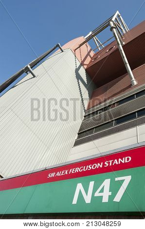 MANCHESTER, UK - JUNE 19, 2013 - Sir Alex Ferguson Stand,  Manchester United Football Ground, UK