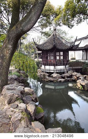 Pavilion in the Humble Administrator's Garden Suzhou China