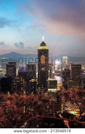 WANCHAI, HONG KONG - SEPT 14 2013 - Central Plaza at dusk as seen from Stubbs Road Hong Kong