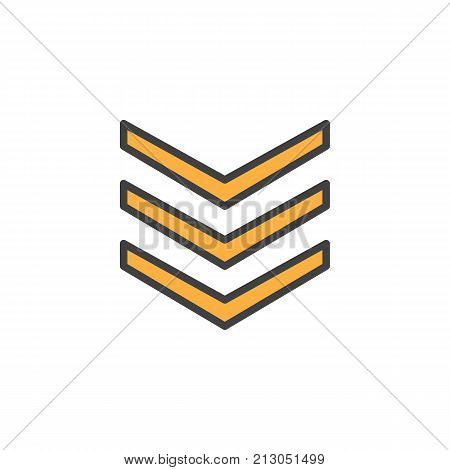 Rank shoulder straps filled outline icon, line vector sign, linear colorful pictogram isolated on white. Symbol, logo illustration. Pixel perfect vector graphics