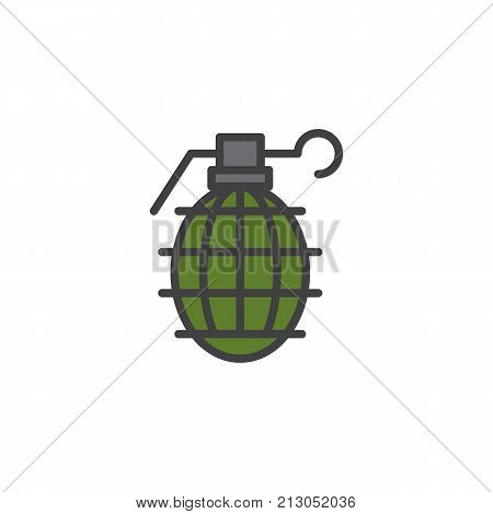 Grenade filled outline icon, line vector sign, linear colorful pictogram isolated on white. Frag symbol, logo illustration. Pixel perfect vector graphics