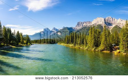 Canmore, Canada - June 26, 2017 : Rafting on the Bow River in Banff National Park near Canmore in the Summer, Canadian Rockies, Alberta, Canada