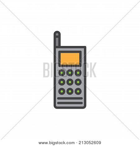 Walkie talkie filled outline icon, line vector sign, linear colorful pictogram isolated on white. Portable two-way radio transceiver symbol, logo illustration. Pixel perfect vector graphics