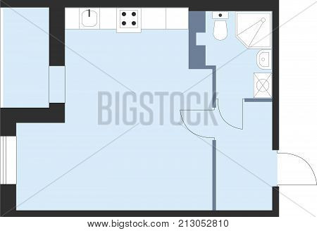 Apartment Floor Plan Top View. Vector Unfurnished House Plueprint.