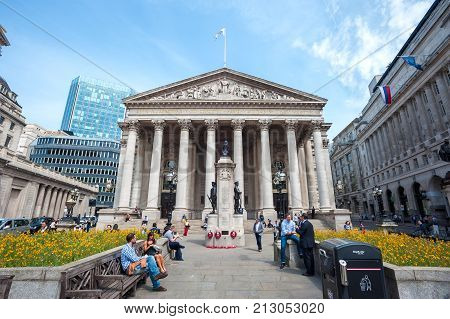 LONDON, ENGLAND - JUNE 10, 2016 - Western Portico of the Royal Exchange building, London