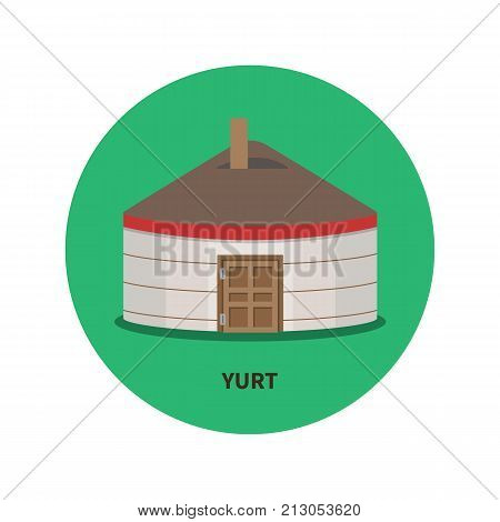 Kazakh, Kyrgyz and Mongolian yurt vector flat icon, nomadic house of Asian peoples