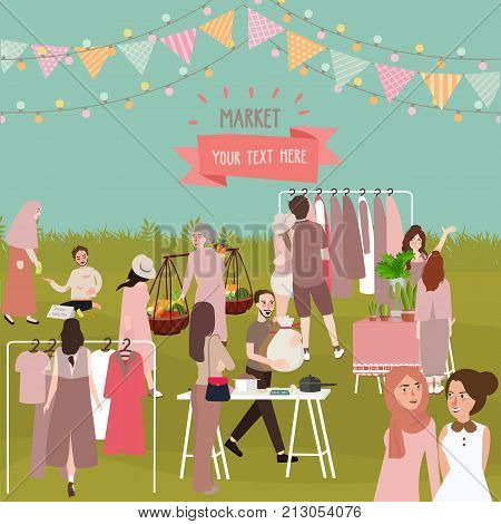 market full of people outdoor crowd shopping selling stuff like clothes fruit and other stuff vector