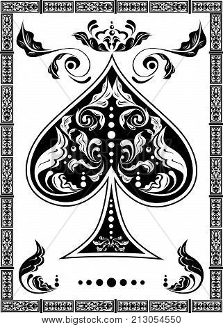 the illustration with the card of spades - ace. poster