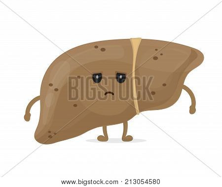 Sick unhealthy sad liver with hepatitis A. Vector modern style cartoon character illustration icon design. Isolated on white background. Sick liver concept