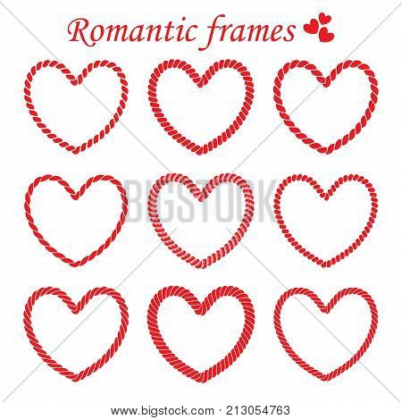 Vector set of isolated romantic frames of twisted rope. Collection of frames heart shaped for Valentine's day for design and decoration greeting and wedding cards post cards and invitations