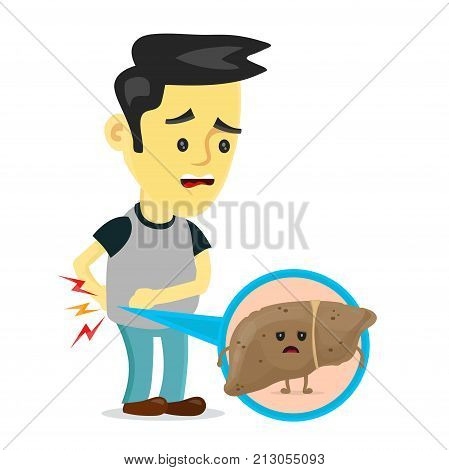 Sad sick young man with unhealthy liver with hepatitis a character. Vector flat cartoon illustration icon design. Isolated on white backgound. Pain in liver, unhealthy, sick, suffering