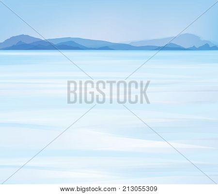 Vector blue  snow mountains background. Winter landscape.