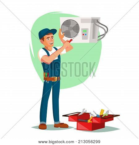 Air Conditioner Repair Service Vector. Technician Repairing Classic Conditioner On The Wall. Isolated On White Cartoon Character Illustration