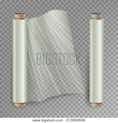 Roll Of Wrapping Stretch Film Vector. Opened And Closed Polymer Packaging. Cellophane, Plastic Wrap. Isolated On Transparent Background