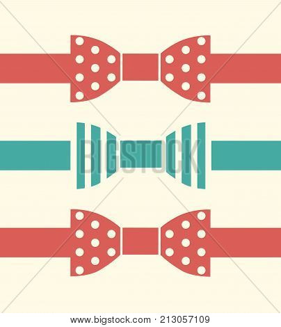 Vector Bow Ties Flat Design Illustration Set