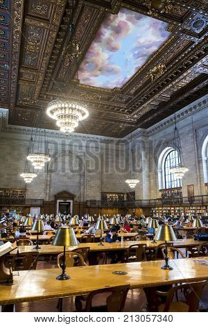 New York City June 2017 United States: Interior view of the impressive New York Public Library on 5th Ave, New York Public Library is North America's third largest library and is a tourist destination
