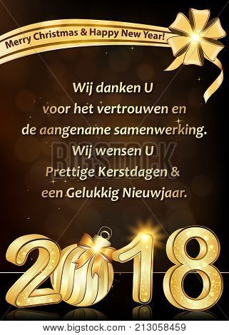 Thank you Dutch business New Year greeting card: We wish to thank you for your trust and cooperation. We wish you Merry Christmas and Happy New Year 2018 (dutch language). Text belongs to me.