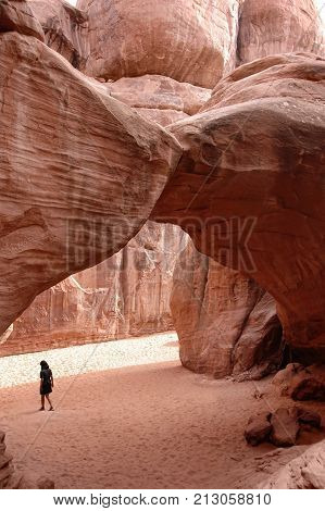 Sand Dune Arch, bizarre geology in Arches National Park, Utah