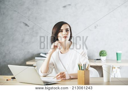 Beautiful Caucasian Business Woman Working On Project