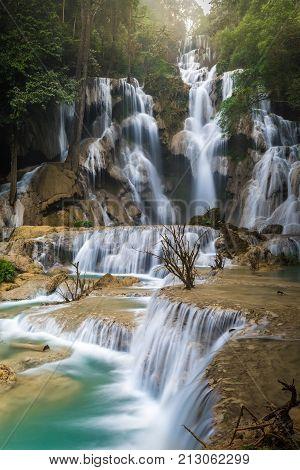 Tat Kuang Si Waterfall Or Kouangxi At Luang Prabang, Laos. It Very Beautiful Waterfall In Lao. It Th