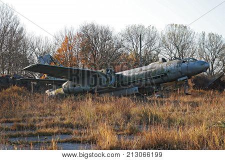Wreck Ilyushin Il-28 Bomber Plane