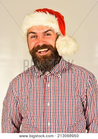 Santa With Wide Smile: Christmas Time Concept, Man With Beard