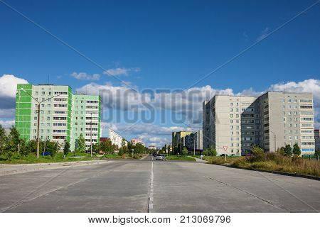 Polyarnye Zori Russia - Aug 27 2012: The widest streetof the Northern city in Russia. Here live employees of thse Kola nuclear power plant