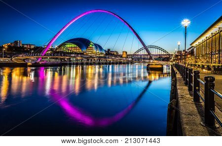 Twilight on Newcastle Quayside, Tyne and Wear, England