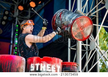 ALLENTOWN, PA - OCTOBER 22: View of Street Drum Corps performing at Dorney Park in Allentown, Pennsylvania