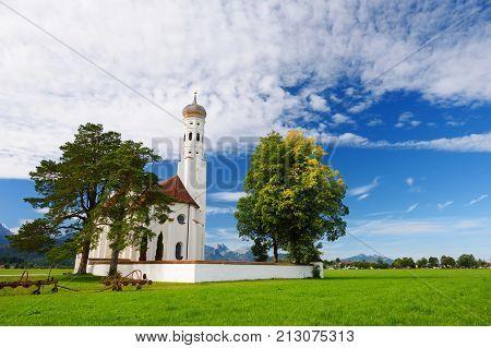 Beautiful White St. Coloman Pilgrimage Church, Located Near Famous Neuschwanstein Castle, Germany.