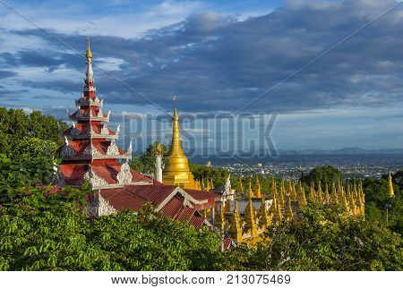 MANDALAY MYANMAR - SEP 03 : A panoramic view of Mandalay from the top of Mandalay Hill in Myanmar on September 03 2017 Mandalay Hill is a major pilgrimage site.