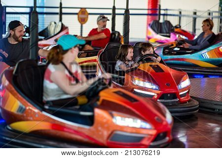 ALLENTOWN, PA - OCTOBER 22: View of Bumper Cars at Dorney Park in Allentown, Pennsylvania