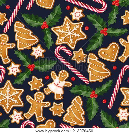 Winter seamless patterns with gingerbread cookies on dark background